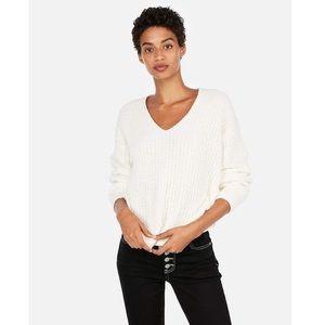 Express Cozy Chenille Ivory V-Neck Sweater
